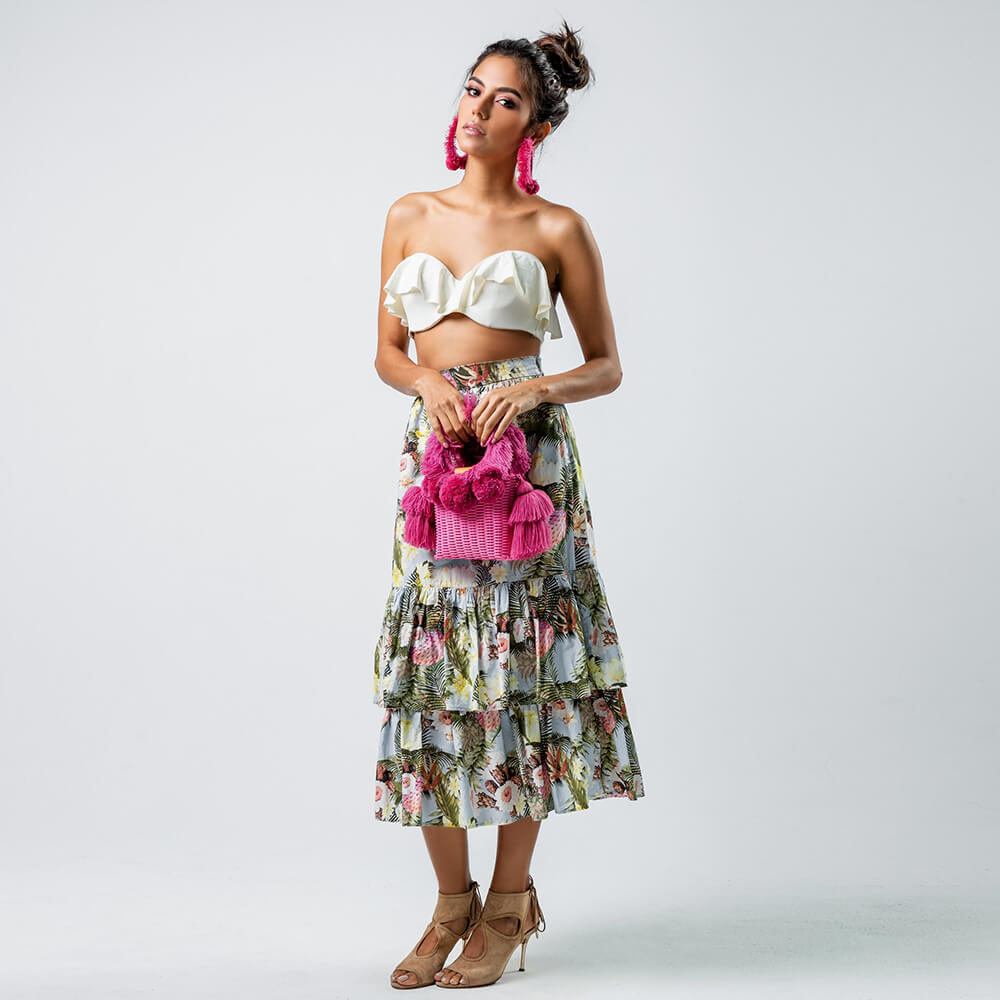 women holding pink handwoven bag