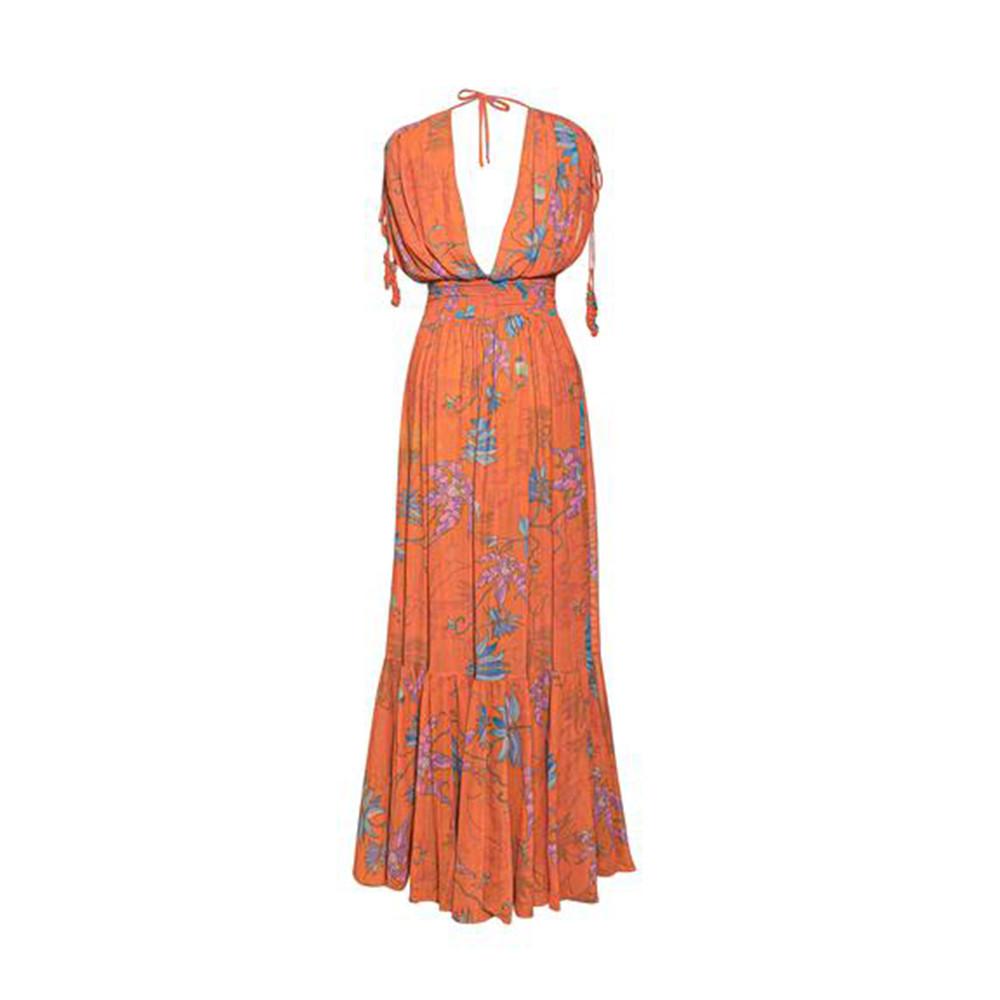 Hortensia orange flowers dress