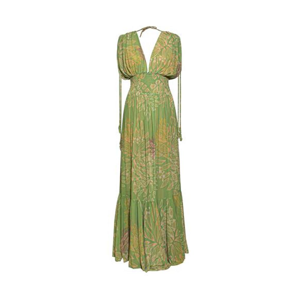Hortensia green flowers dress