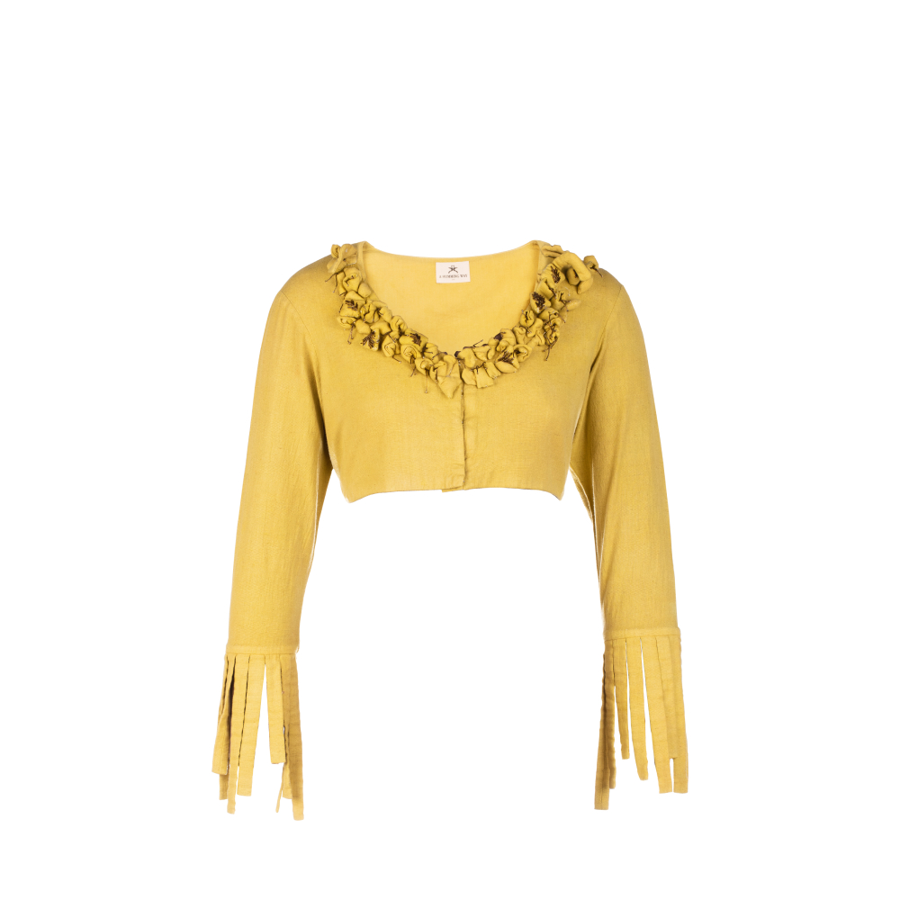 Blouse with detailed neck and sleeves