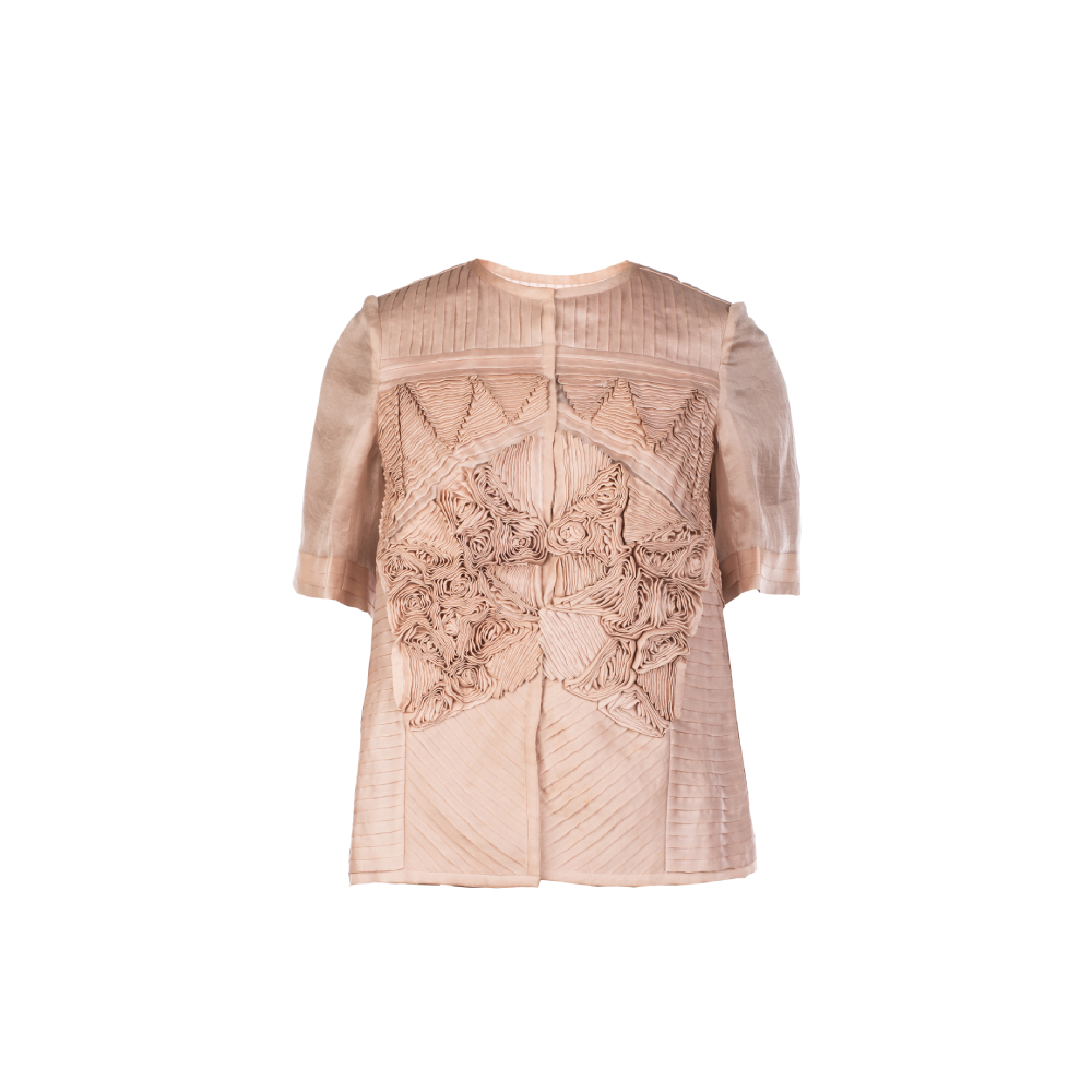 Box sheer jacket with manipulated fabric work