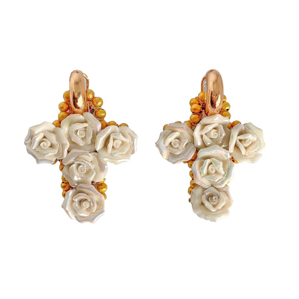 Flowered cross earrings