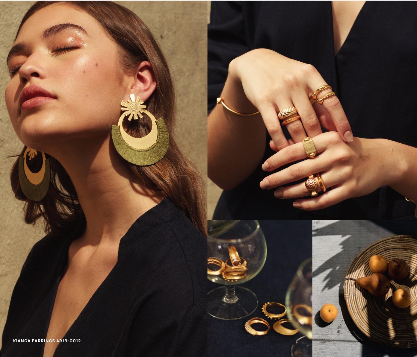 women wearing vattea earings