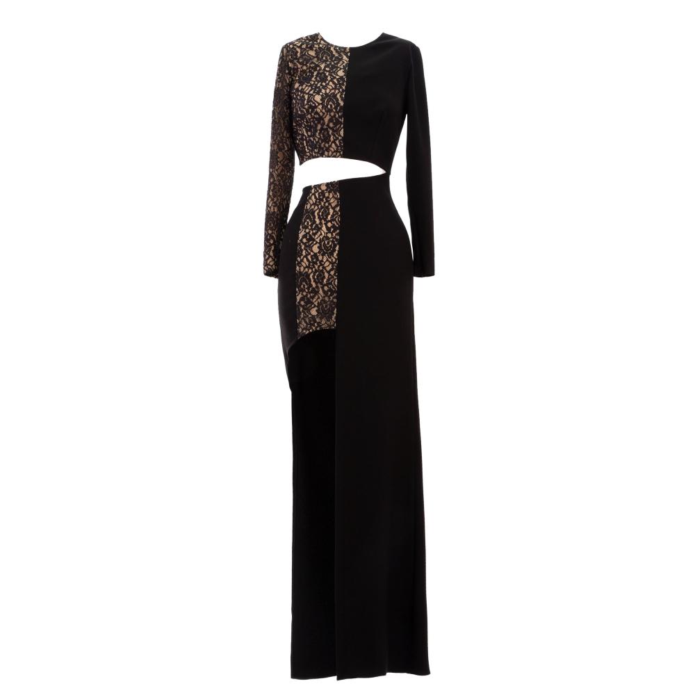 Mixed fabric long dress