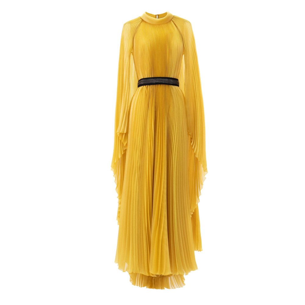 Pleated cape like yellow dress with detachable belt