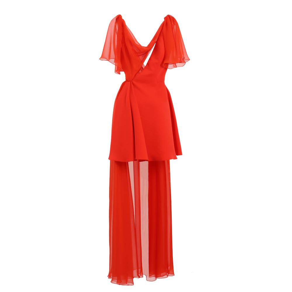 High low asymmetrical crepe dress