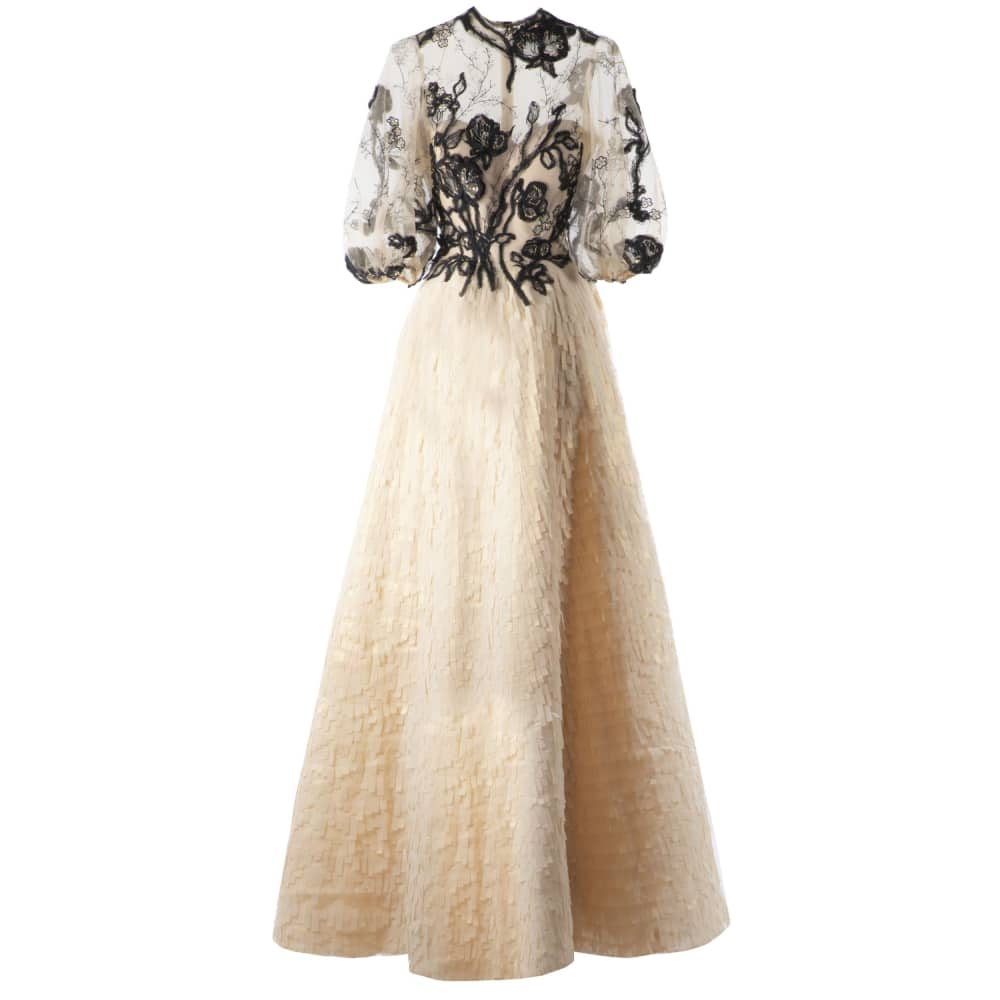 Flared embroidered bodice dress