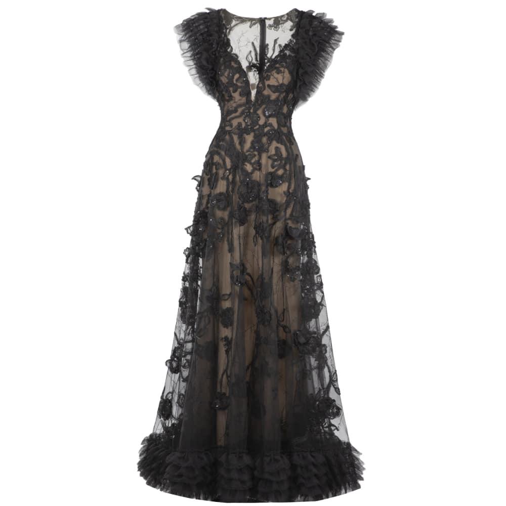 A Line v cut long dress