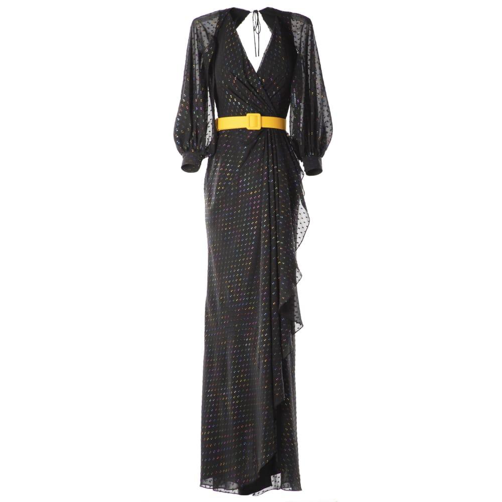 V neckline long dress with belt