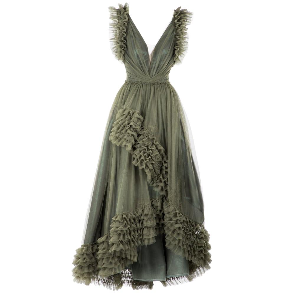 Wide ruffled details dress