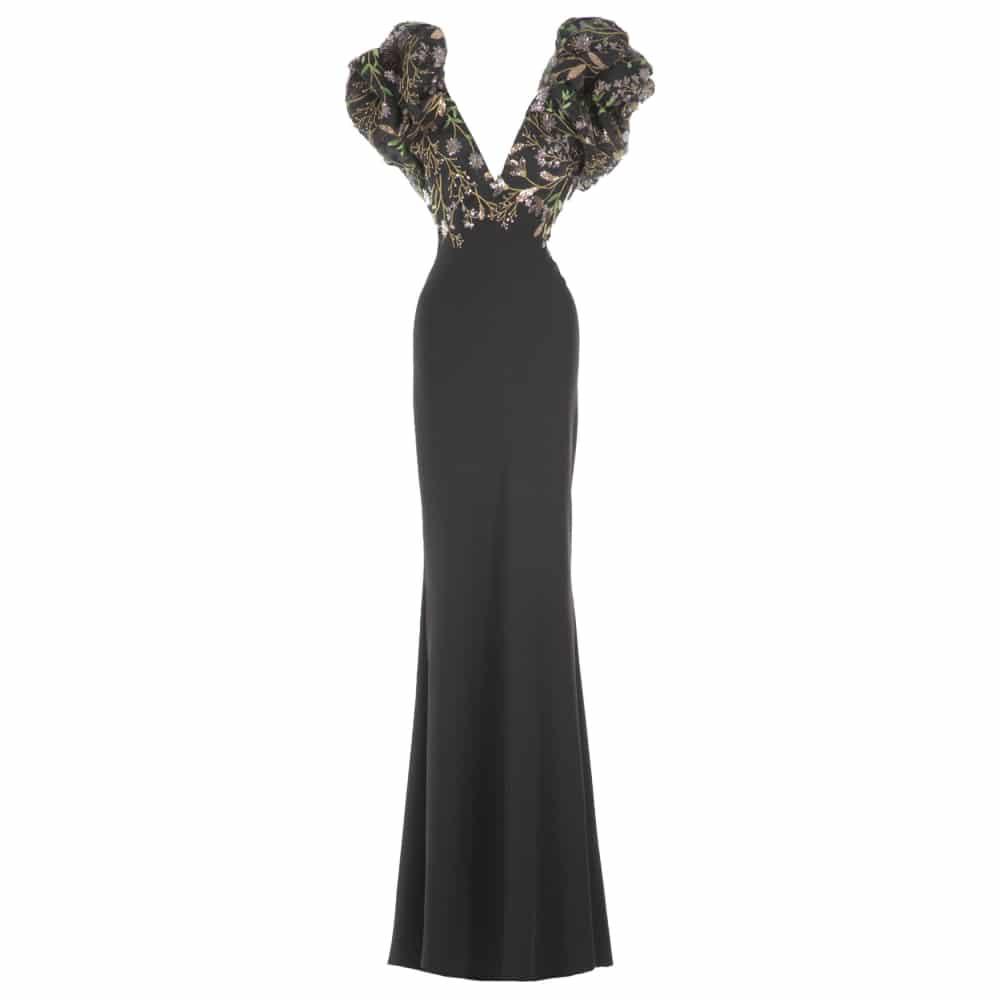 Voluminous puffed sleeves dress