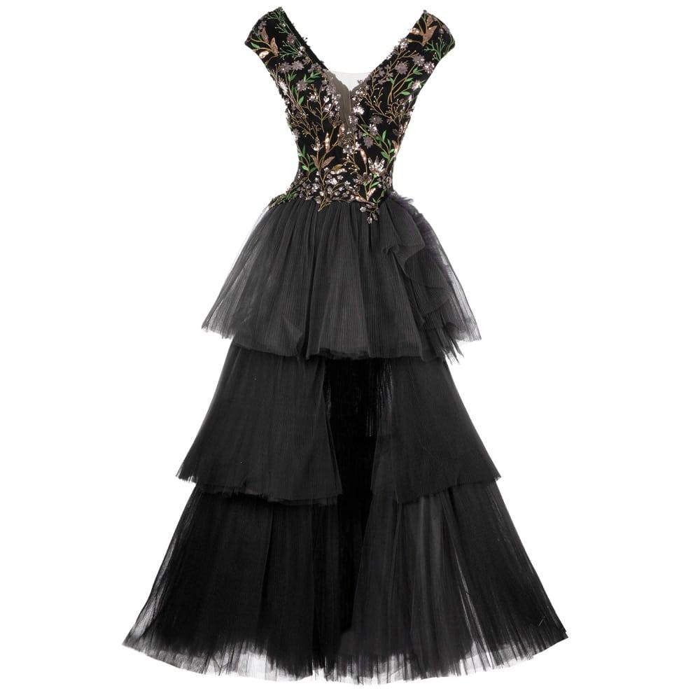 Embroidered v neckline long dress