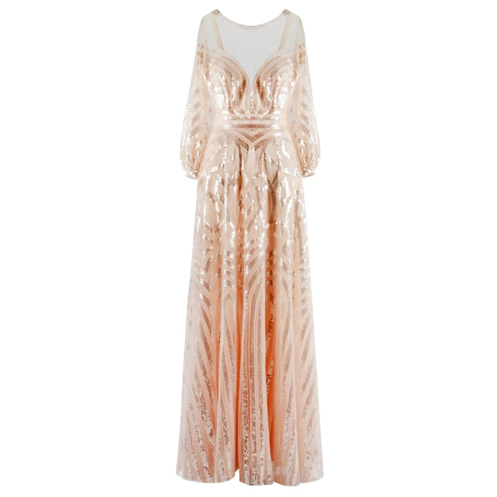 Fully sequined long dress